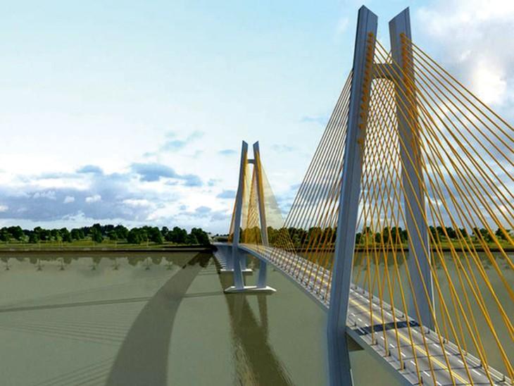 Cầu Mỹ Thuận 2 dài 6,6 km sẽ kết nối hai tuyến cao tốc Trung Lương - Mỹ Thuận và Mỹ Thuận - Cần Thơ, hoàn thiện toàn tuyến cao tốc từ TP.HCM đi Cần Thơ. Ảnh: Lê Tiên
