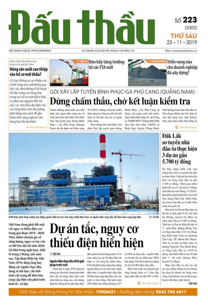 Báo Đấu thầu số 223 ra ngày 22/11/2019