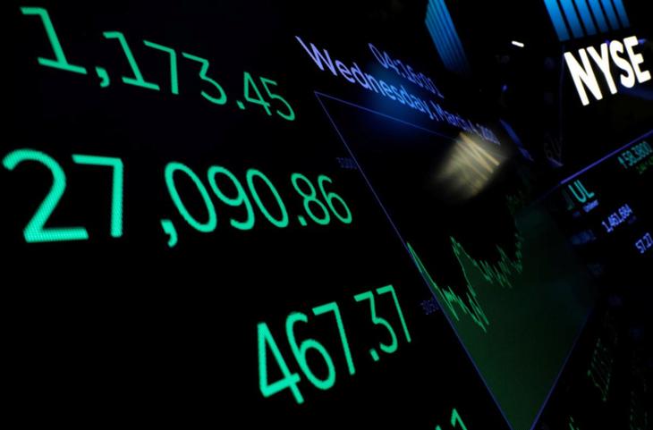 Biến động ba chỉ số chính của chứng khoán Mỹ trên bảng điện tửsàn chứng khoán New York ngày 4/3. Ảnh:Reuters