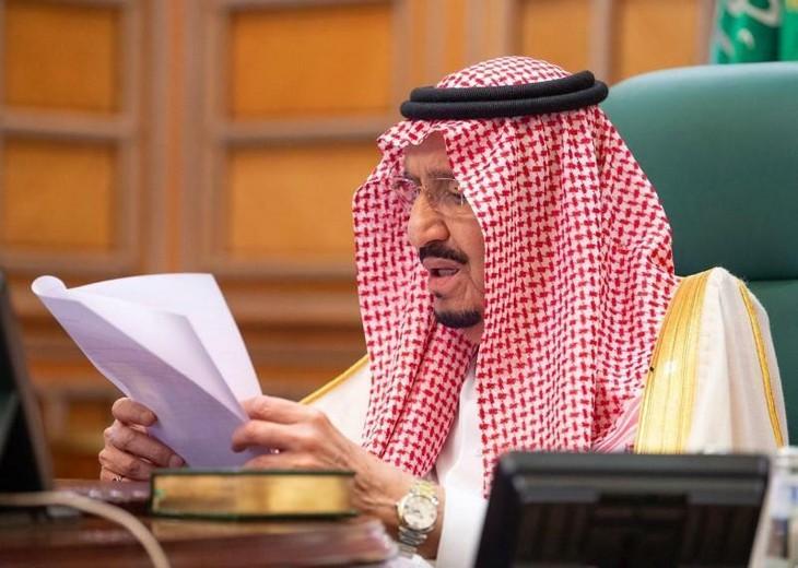 Quốc vương Saudi Arabia Salman bin Abdulaziz chủ trì cuộc họp trực tuyến của G20 hôm qua. Ảnh:Reuters