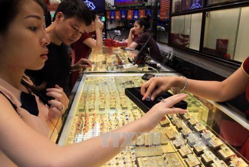Cùng với đà tăng của giá vàng thế giới, giá vàng trong nước sáng 23/4 tăng 250.000 đồng/lượng. Ảnh: BNEWS/TTXVN