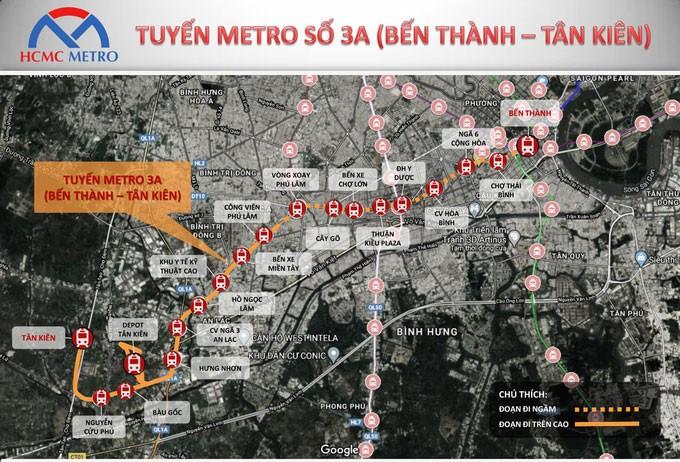 Tuyến đường sắt đô thị số 3A (Bến Thành - Tân Kiên) đi qua 8 quận, huyện của TP.HCM với chiều dài gần 20 km