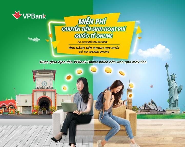 Miễn phí chuyển tiền cho du học sinh trên ứng dụng VPBank Online