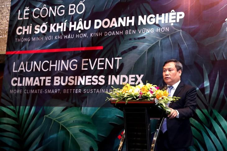 Thứ trưởng Bộ Kế hoạch và Đầu tư Vũ Đại Thắng phát biểu khai mạc Lễ công bố Chỉ số Khí hậu doanh nghiệp (CBI). Ảnh: Trương Gia