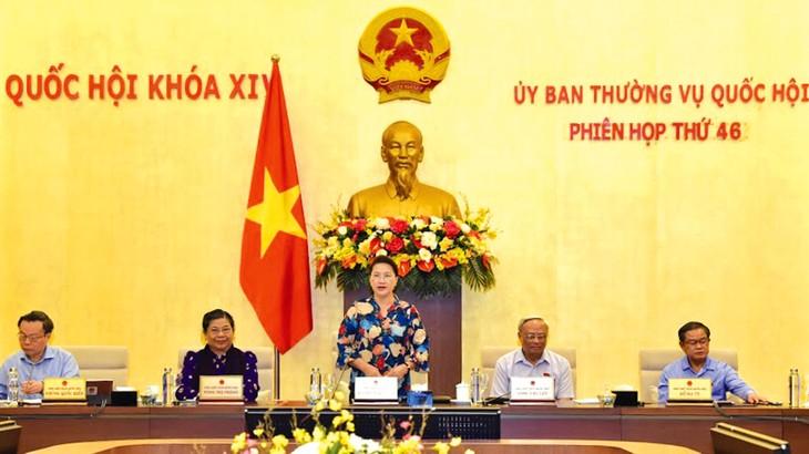 Chủ tịch Quốc hội Nguyễn Thị Kim Ngân phát biểu tại Phiên họp thứ 46 của Ủy ban Thường vụ Quốc hội. Ảnh: Quang Khánh