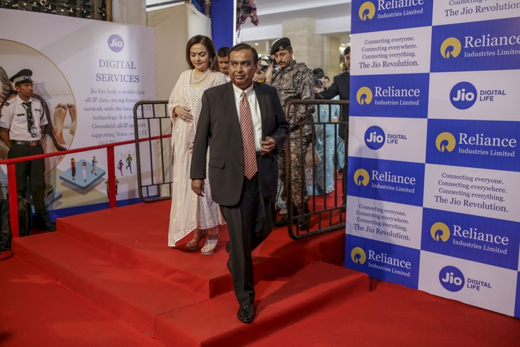 Tỷ phú Ấn Độ Mukesh Ambani vào top 5 người giàu nhất thế giới