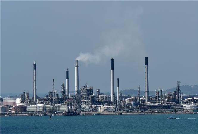 Một cơ sở lọc dầu của Công ty dầu khí Shell ở đảo Bukom, ngoài khơi Singapore. Ảnh: AFP/TTXVN