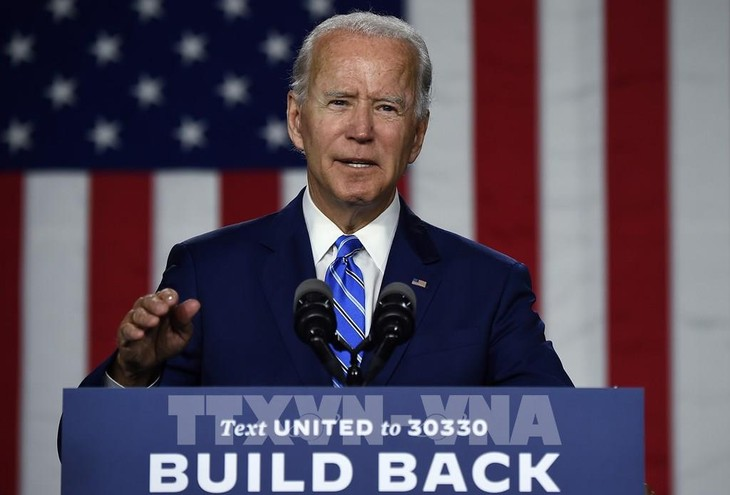 Ứng viên tranh cử Tổng thống Mỹ của đảng Dân chủ Joe Biden phát biểu tại một sự kiện ở Wilmington, Delaware (Mỹ) ngày 14/7/2020. Ảnh: AFP/TTXVN