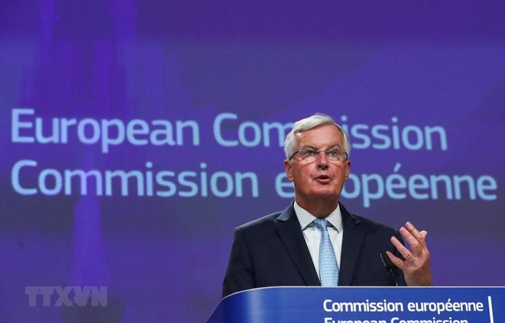 Trưởng đoàn đàm phán thương mại hậu Brexit của EU Michel Barnier phát biểu tại cuộc họp báo ở Brussels, Bỉ ngày 21/8/2020. (Ảnh: AFP/TTXVN)