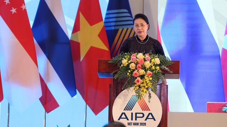 Chủ tịch Quốc hội Việt Nam, Chủ tịch AIPA 41 Nguyễn Thị Kim Ngân phát biểu bế mạc Đại hội đồng AIPA 41. Ảnh: Quang Khánh
