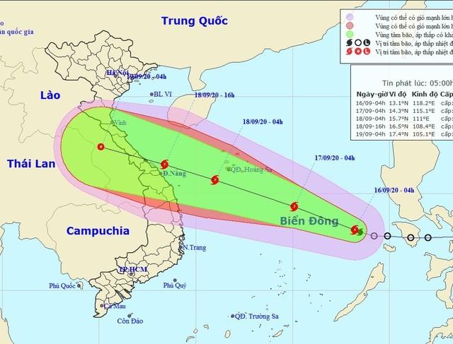 Vị trí và hướng di chuyển của bão số 5. (Ảnh: NCHMF).