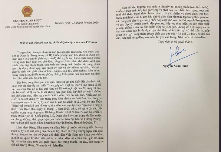 Thư của Thủ tướng gửi Quân đội nhân dân Việt Nam