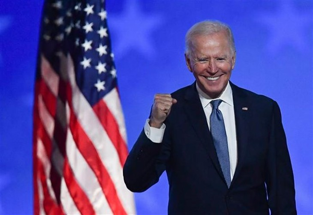 Ứng viên Tổng thống của đảng Dân chủ Mỹ Joe Biden trong cuộc họp báo kết thúc Ngày Bầu cử, tại Wilmington, bang Delaware sáng 4/11/2020 (giờ địa phương). Ảnh: AFP/TTXVN