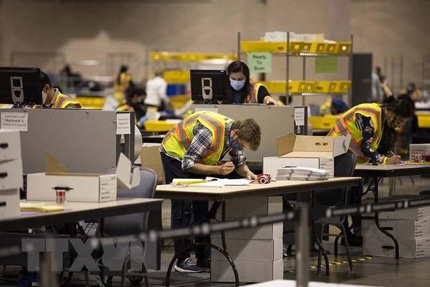Trung tâm kiểm phiếu tại bang Pennsylvania. (Ảnh:Getty/TTXVN)