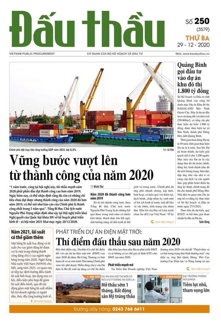 Báo Đấu thầu số 250 ra ngày 28/12/2020