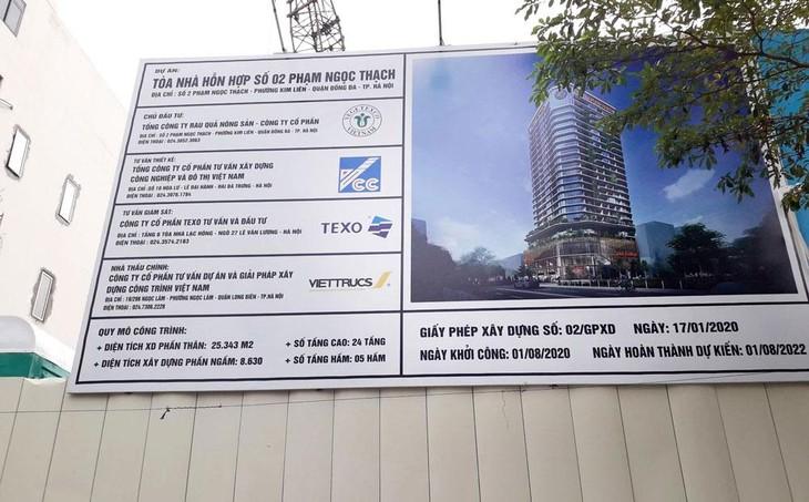 Vegetexco sẽ bổ sung 250 tỷ đồng cho việc xây dựng và hoàn thiện Dự án Tòa nhà hỗn hợp số 2 Phạm Ngọc Thạch. Ảnh: NC st