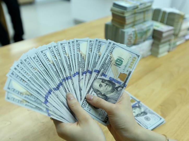 Tại các ngân hàng thương mại, sáng nay giá đồng USD và giá đồng Nhân dân tệ (NDT) cùng biến động mạnh. Ảnh: BNEWS/TTXVN