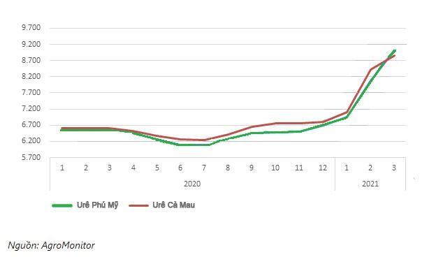 Diễn biến giá urê giao dịch tại TP.HCM năm 2020 - 2021 (Đơn vị tính: VND/kg)