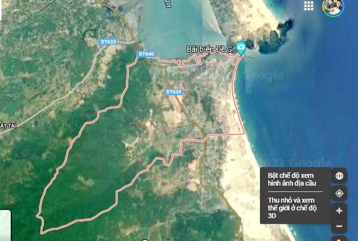Dự án Khu tái định cư thôn An Quang, xã Cát Khánh, huyện Phù Cát, tỉnh Bình Định phục vụ Dự án Đường ven biển (ĐT.639), đoạn Cát Tiến - Đề Gi có tổng mức đầu tư trên 130 tỷ đồng. Ảnh Google map