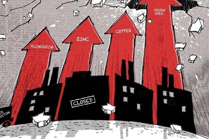 """Giá nguyên liệu thô leo thang đang đe dọa các nhà máy của Trung Quốc - """"công xưởng của thế giới"""""""