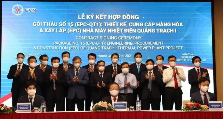 Lễ ký kết hợp đồng Gói thầu số 15 (EPC-QTI) Dự án Nhà máy Nhiệt điện Quảng Trạch I diễn ra ngày 17/6/2021 tại Hà Nội