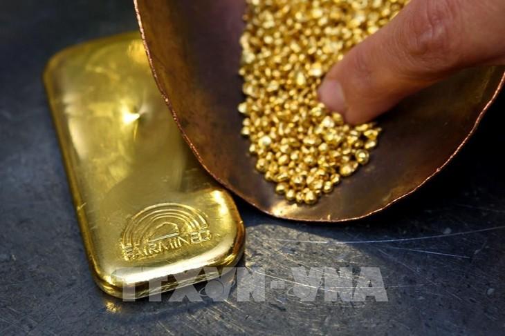 Giá vàng sáng 7/7 giao dịch quanh 57,4 triệu đồng/lượng. Ảnh: TTXVN phát