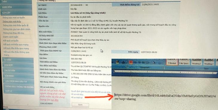 """Tại phần nội dung hồ sơ thiết kế Gói thầu, Bên mời thầu chỉ đính kèm bản chụp 1 tờ giấy A4 với tên file là """"link file bản vẽ thiết kế"""". Ảnh: Bích Thảo"""