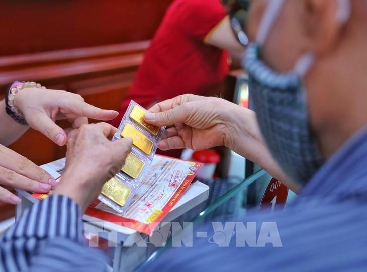Sáng 12/7, giá vàng trong nước tăng 60 nghìn đồng/lượng so với cuối tuần qua. Ảnh: Danh Lam - TTXVN