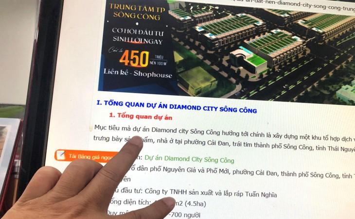Dự án Khu đô thị Diamond City Sông Công từng được nhiều trang thông tin điện tử giới thiệu nhà đầu tư là Công ty TNHH Sản xuất, Lắp ráp Tuấn Nghĩa. Ảnh: Nhã Chi