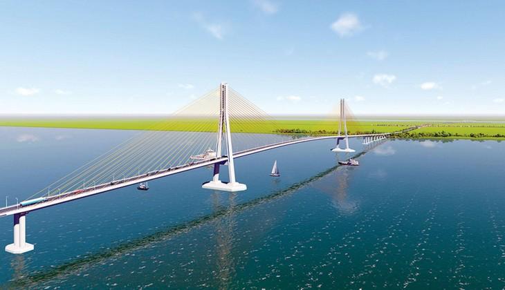 Cầu Đại Ngãi sẽ là cầu dây văng thứ 3 bắc qua sông Hậu. Ảnh mô hình
