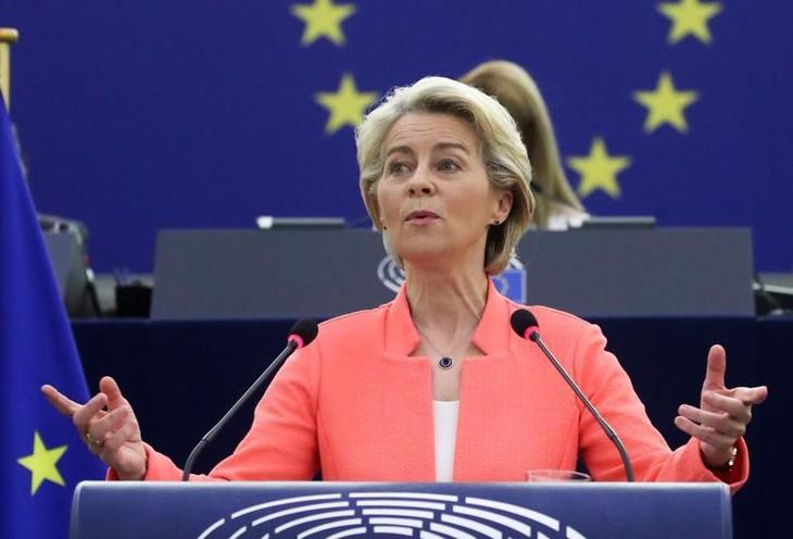 Chủ tịch Uỷ ban châu Âu (EC) Ursula von der Leyen phát biểu trước Nghị viện châu Âu ngày 14/9 - Ảnh: Reuters.