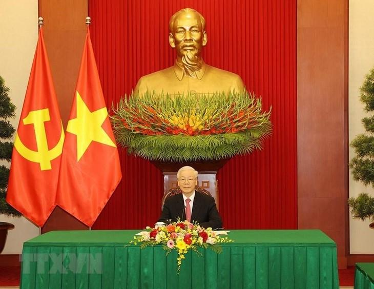 Tổng Bí thư Nguyễn Phú Trọng cảm ơn Trung Quốc đã chia sẻ kinh nghiệm, hỗ trợ vaccine cho Việt Nam trong công tác phòng, chống dịch COVID-19