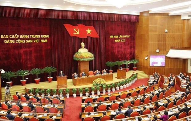 Toàn cảnh ngày làm việc thứ hai Hội nghị lần thứ tư, Ban Chấp hành Trung ương Đảng khóa XIII. Ảnh: Quý Bắc
