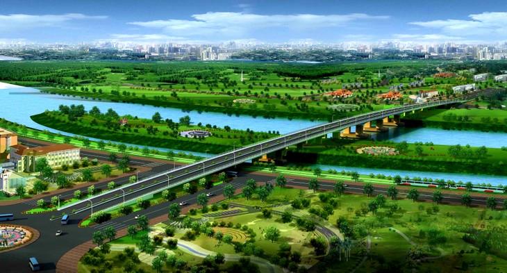 Phối cảnh cầu Thống Nhất bắc qua sông Cái trên đường trục trung tâm TP. Biên Hòa