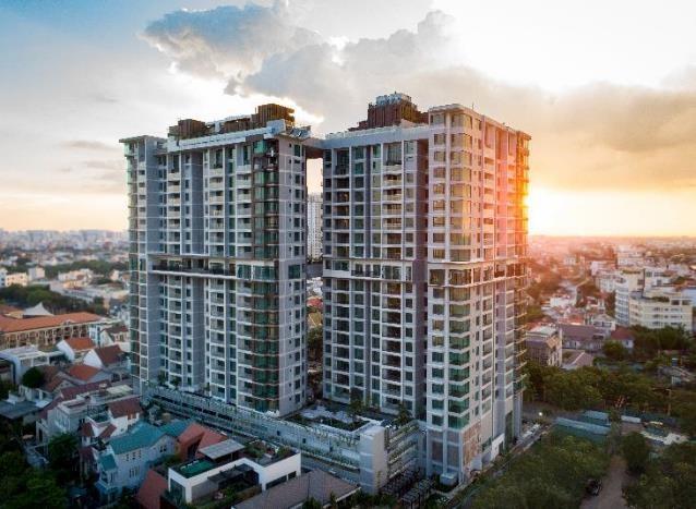 Kiến trúc mặt ngoài tòa nhà d'Edge Thảo Điền tại vị trí trung tâm khu vực Thảo Điền, quận 2, TP.HCM