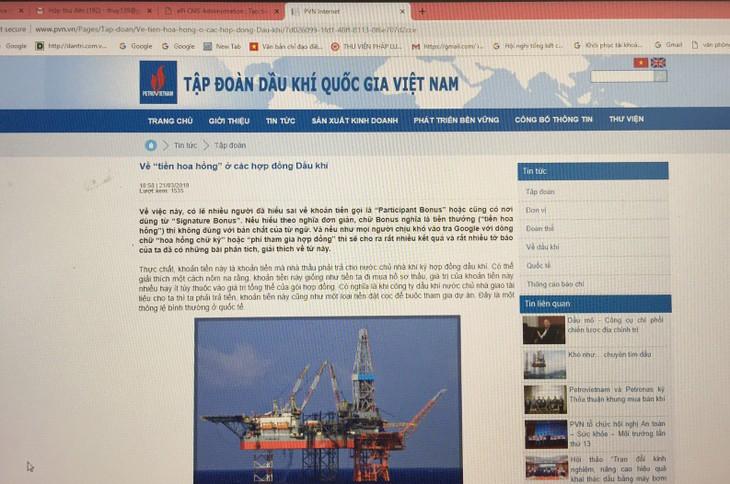"""Ngày 21/3/2019, PVN thông tin về """"tiền hoa hồng"""" ở các hợp đồng dầu khí"""