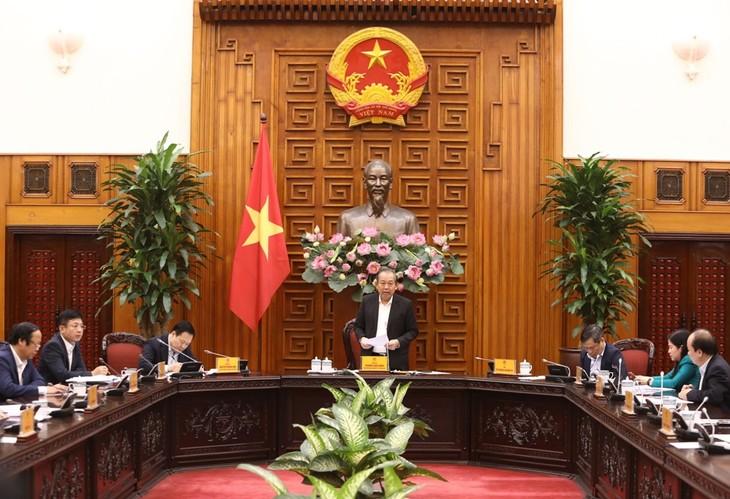 Ủy viên Bộ Chính trị, Phó Thủ tướng Thường trực Chính phủ Trương Hoà Bình chủ trì cuộc họp ngày 19/3 (ảnh: CMSC)