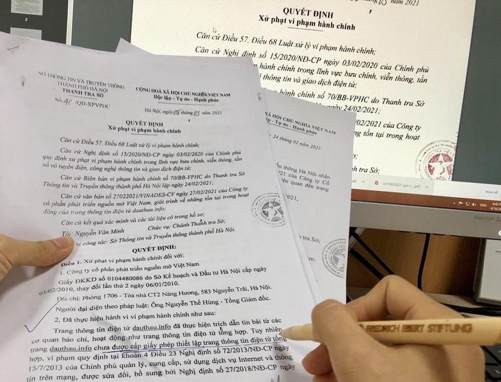 Thanh tra Sở Thông tin và Truyền thông TP. Hà Nội đã ra quyết định xử phạt vi phạm hành chính và thu hồi tên miền dauthau.info đối với Công ty CP Phát triển nguồn mở Việt Nam do vi phạm quy định (ảnh: LT)