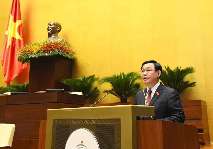 Chủ tịch Quốc hội Vương Đình Huệ phát biểu khai mạc Kỳ họp thứ nhất, Quốc hội khóa XV sáng ngày 20/7/2021, tại Hà Nội (ảnh: QH)