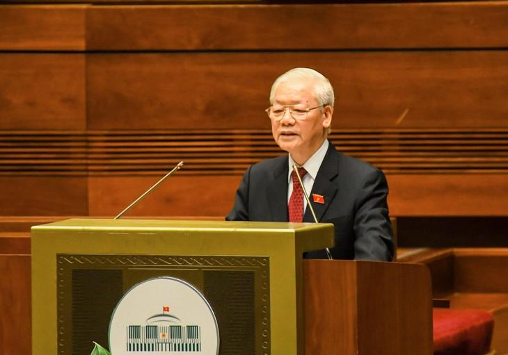 Tổng Bí thư Nguyễn Phú Trọng phát biểu tại phiên khai mạc Kỳ họp thứ nhất, Quốc hội khóa XV sáng ngày 20/7, tại Hà Nội. Ảnh: QH