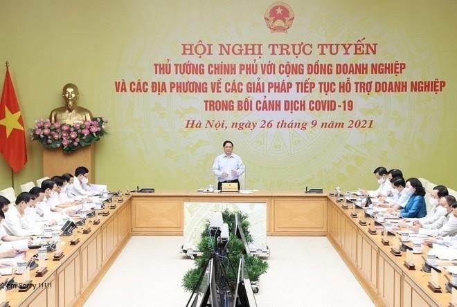Thủ tướng Chính phủ Phạm Minh Chính chủ trì Hội nghị trực tuyến Thủ tướng Chính phủ với cộng đồng doanh nghiệp và địa phương về các giải pháp tiếp tục hỗ trợ doanh nghiệp trong bối cảnh Covid-19