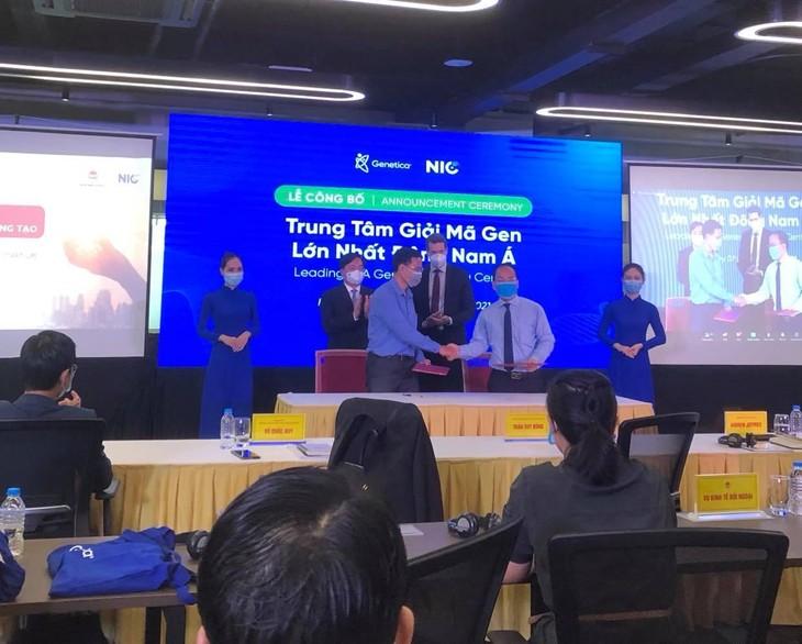 Đại diện Trung tâm Đổi mới sáng tạo Quốc gia thuộc Bộ Kế hoạch và Đầu tư và đại diện Công ty Giải mã gen Genetica đã ký biên bản hợp tác phát triển một Trung tâm giải mã gen lớn nhất Đông Nam Á đặt tại Việt Nam