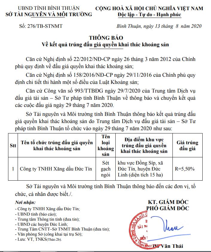 Xăng dầu Đức Tín trúng đấu giá quyền khai thác sét gạch ngói tại Bình Thuận ảnh 1