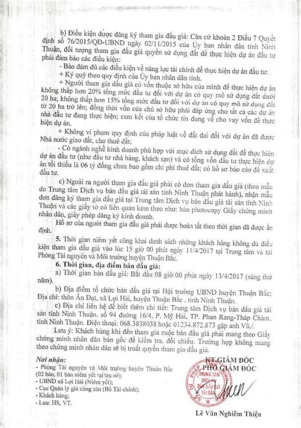 Đấu giá quyền sử dụng đất huyện Thuận Bắc, Ninh Thuận ảnh 2