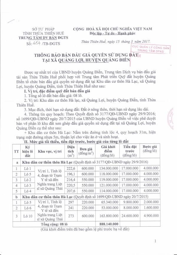Đấu giá quyền sử dụng đất tại huyện Quảng Điền, Thừa Thiên Huế ảnh 1