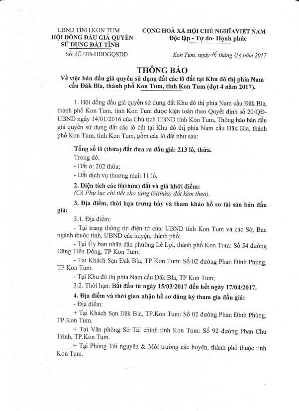 Đấu giá quyền sử dụng đất tại TP.Kon Tum, Kon Tum ảnh 1