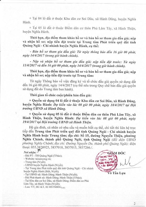 Đấu giá quyền sử dụng đất tại huyện Nghĩa Hành, Quảng Ngãi ảnh 2