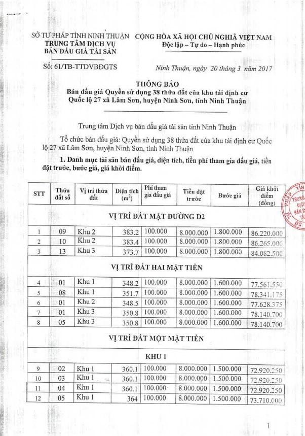 Đấu giá quyền sử dụng đất tại huyện Ninh Sơn, Ninh Thuận ảnh 1