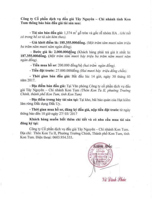Đấu giá gỗ tròn và gốc rễ nhóm IIA tại TP Kon Tum, Kon Tum ảnh 1
