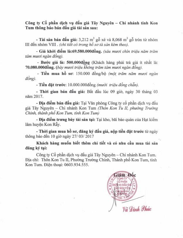 Đấu giá gỗ xẻ và gỗ tròn từ nhóm III đến nhóm VIII tại TP Kon Tum, Kon Tum ảnh 1